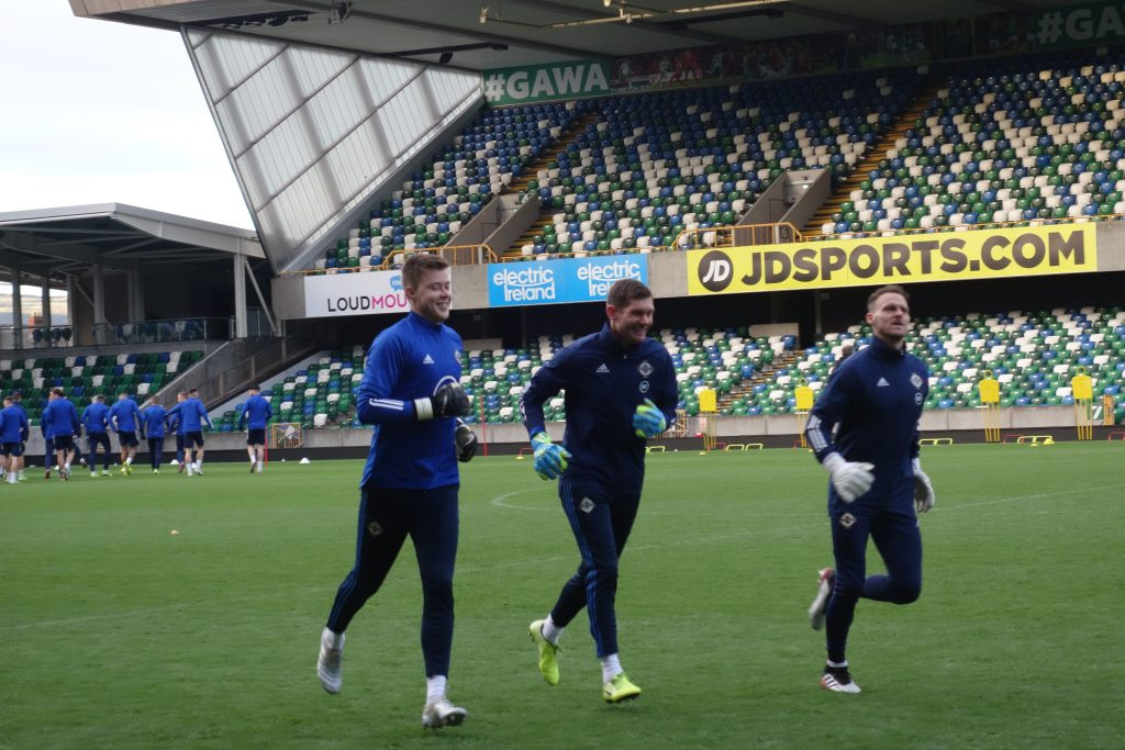 Northern Ireland's keepers pre-match training