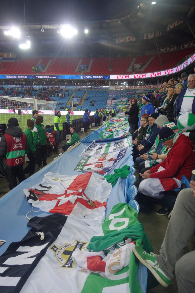 Northern Ireland fans in Oslo, Norway v NI 2017 World Cup Qualifier
